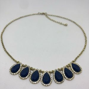 Jewelry - Navy and Gold colored Statement Necklace